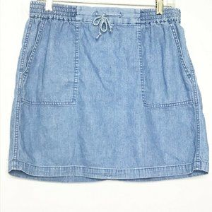 J Crew Women Skirt M Blue Chambray Denim Stretchy